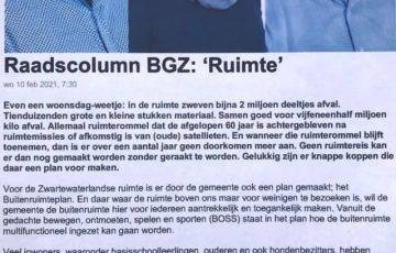 Raadscolumn BGZ: 'Ruimte'